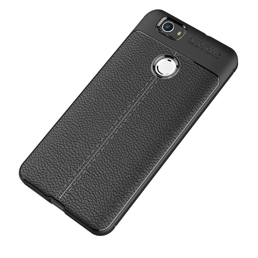 Luxury Leather Business Litchi Pattern PU Soft TPU Cover Case for Huawei Noua - BLACK