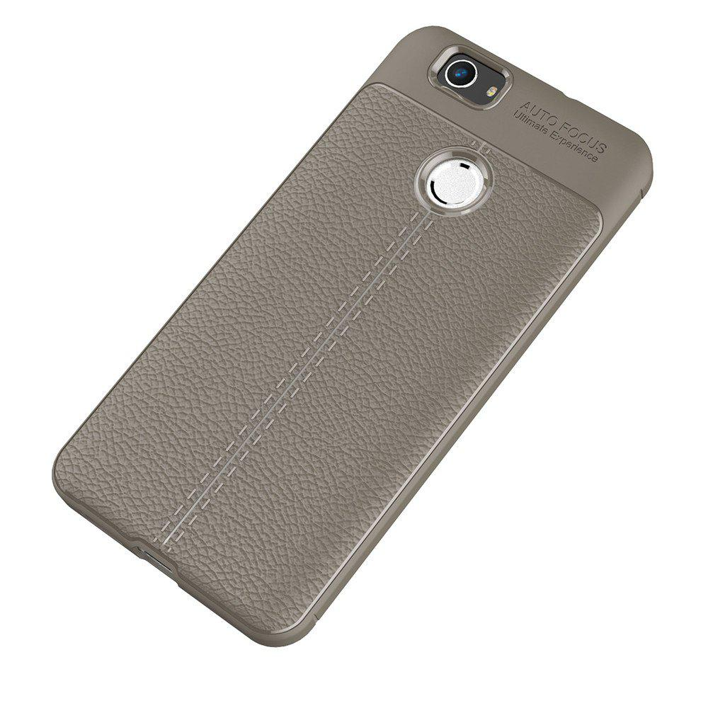 Luxury Leather Business Litchi Pattern PU Soft TPU Cover Case for Huawei Noua - BROWN