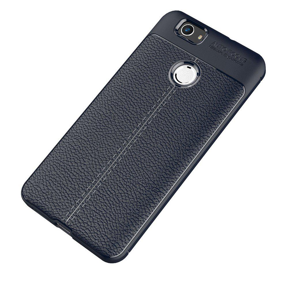Luxury Leather Business Litchi Pattern PU Soft TPU Cover Case for Huawei Noua - BLUE