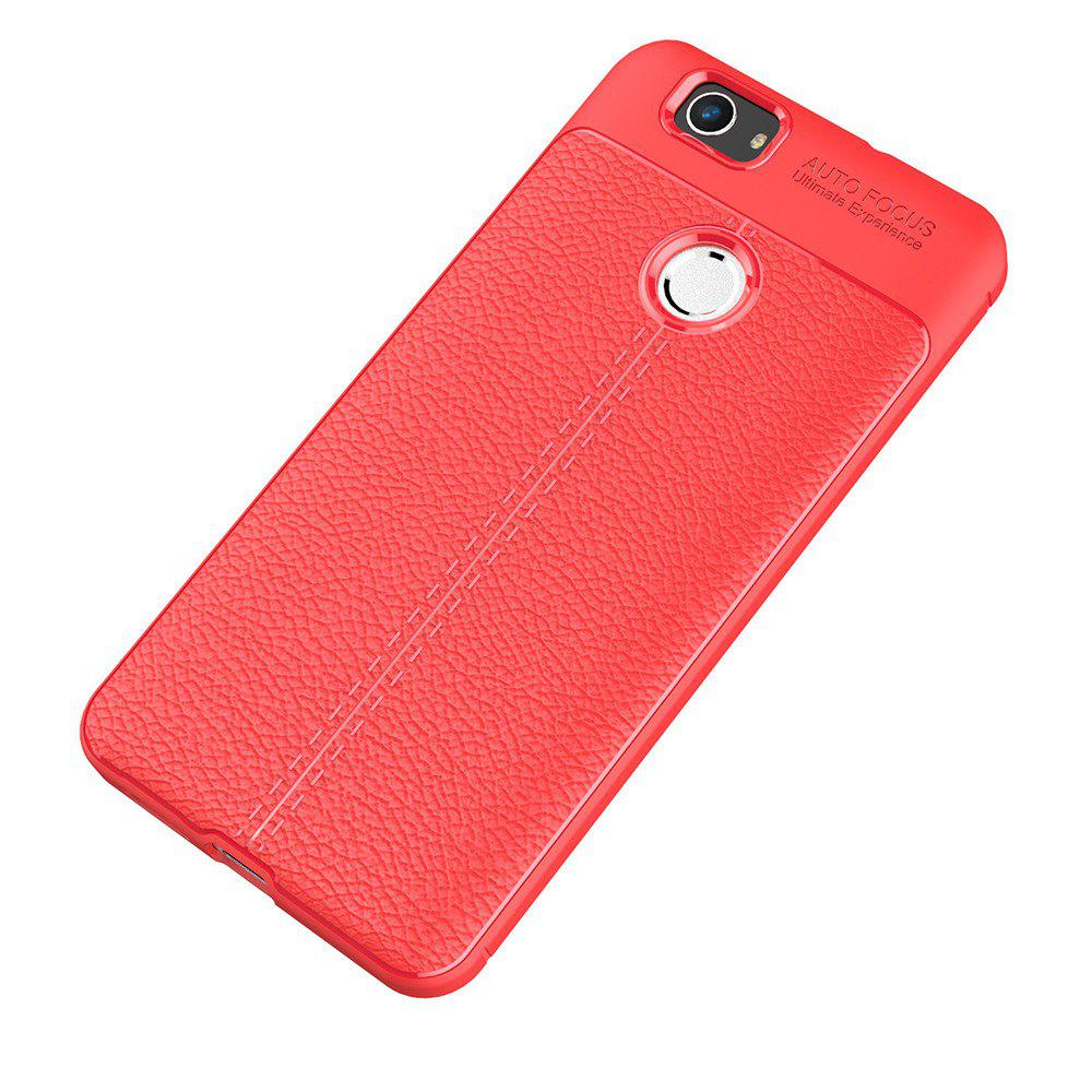 Luxury Leather Business Litchi Pattern PU Soft TPU Cover Case for Huawei Noua - RED