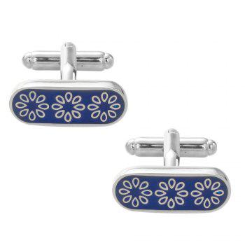 Flower Cuff Links Top Quality Lawyer Groom Wedding Cufflinks Shirt Cuffs - BLUE BLUE