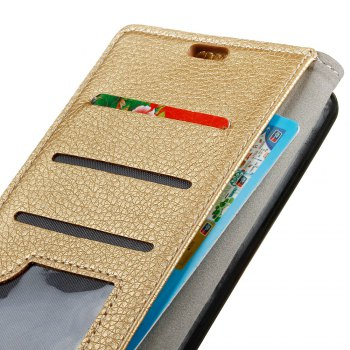 Litchi Pattern PU Leather Wallet Case for LG V30 -  GOLDEN