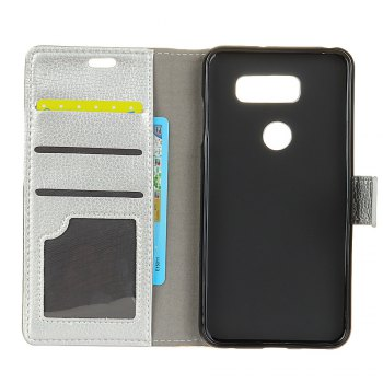 Litchi Pattern PU Leather Wallet Case for LG V30 - SILVER