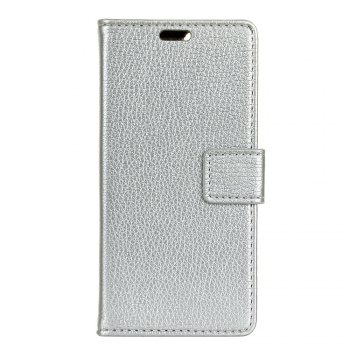 Litchi Pattern PU Leather Wallet Case for LG V30 - SILVER SILVER