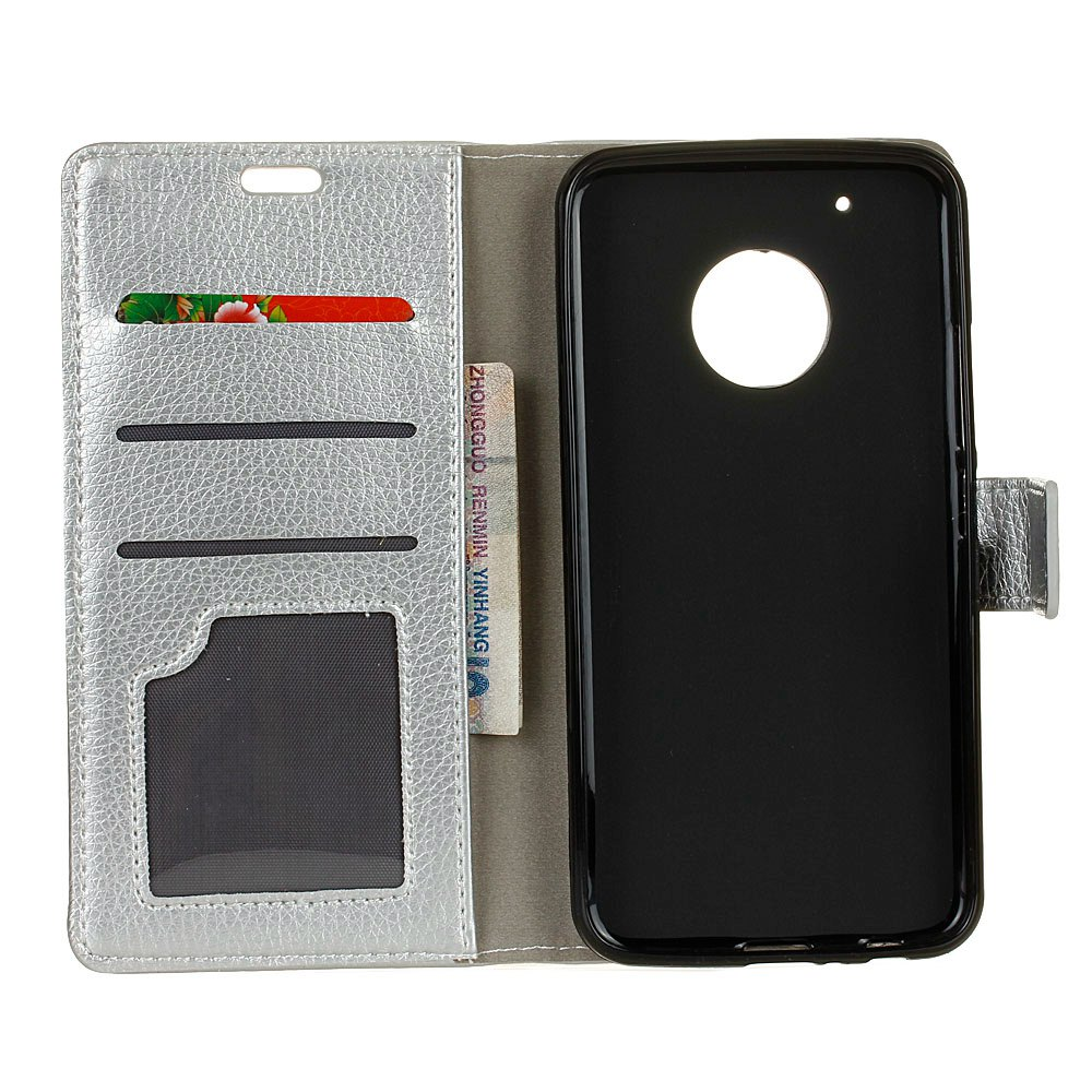 Litchi Pattern PU Leather Wallet Case for MOTO G5 - SILVER