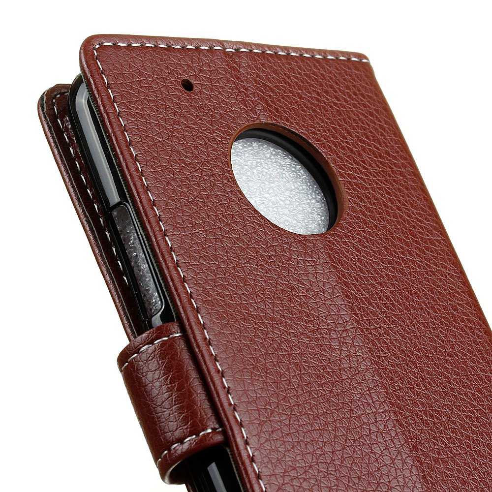 Litchi Pattern PU Leather Wallet Case for MOTO G5 - BROWN