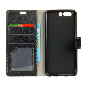Litchi Pattern PU Leather Wallet Case for Huawei P10 -  BLACK
