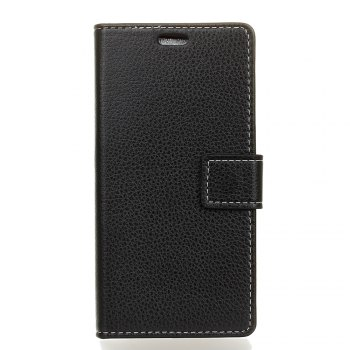 Litchi Pattern PU Leather Wallet Case for Huawei P10 - BLACK BLACK