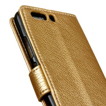 Litchi Pattern PU Leather Wallet Case for Huawei P10 - GOLDEN
