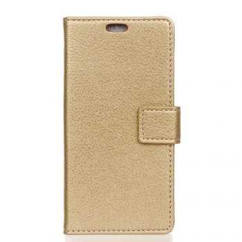 Litchi Pattern PU Leather Wallet Case for Huawei P10 - GOLDEN GOLDEN