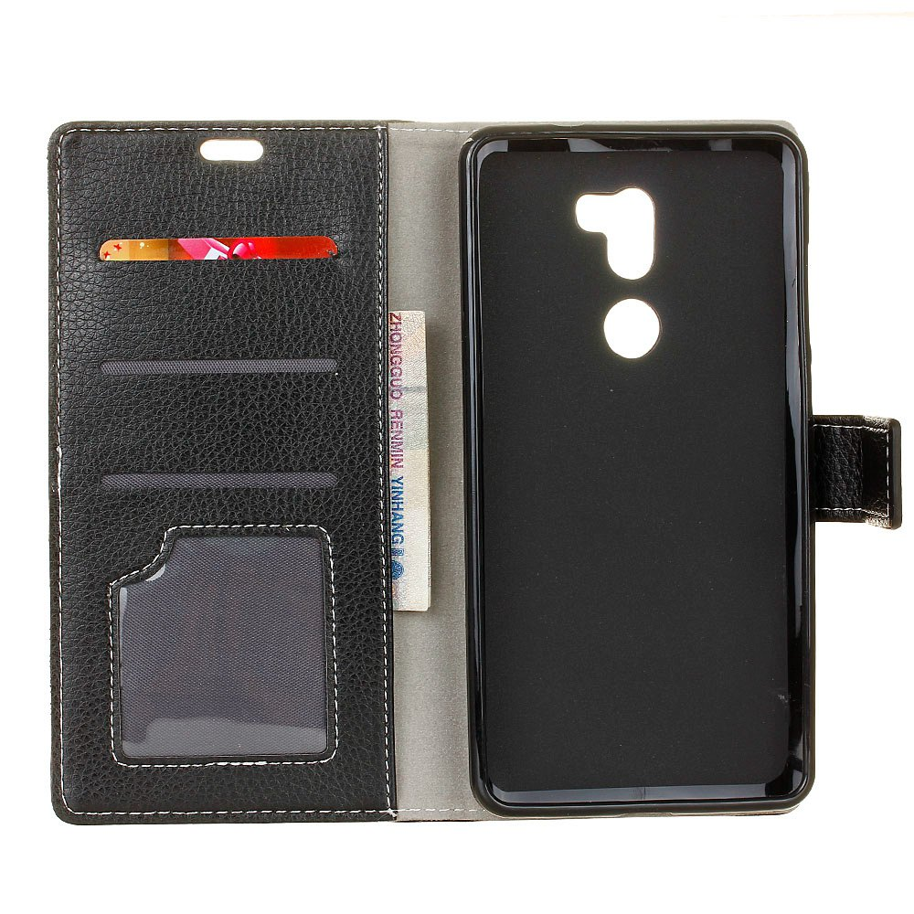 Litchi Pattern PU Leather Wallet Case for Xiaomi 5S Plus - BLACK