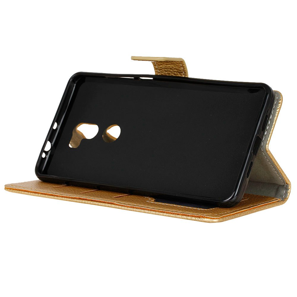 Litchi Pattern PU Leather Wallet Case for Xiaomi 5S Plus - GOLDEN