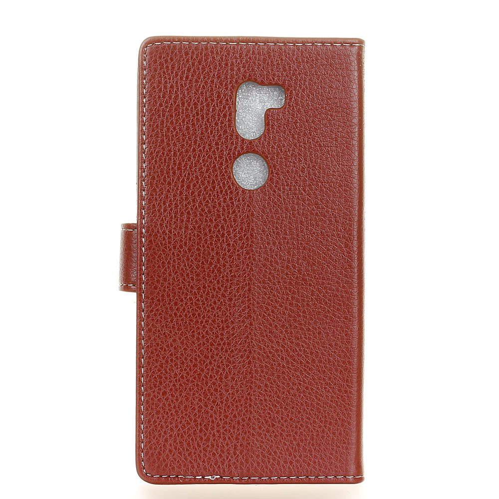 Litchi Pattern PU Leather Wallet Case for Xiaomi 5S Plus - BROWN