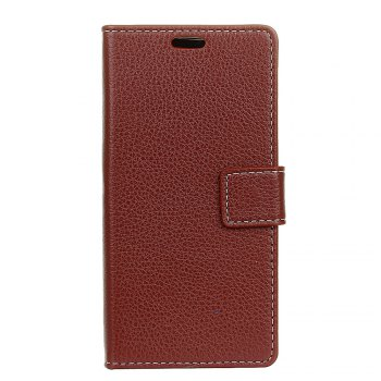 Litchi Pattern PU Leather Wallet Case for Xiaomi 6 Plus - BROWN BROWN