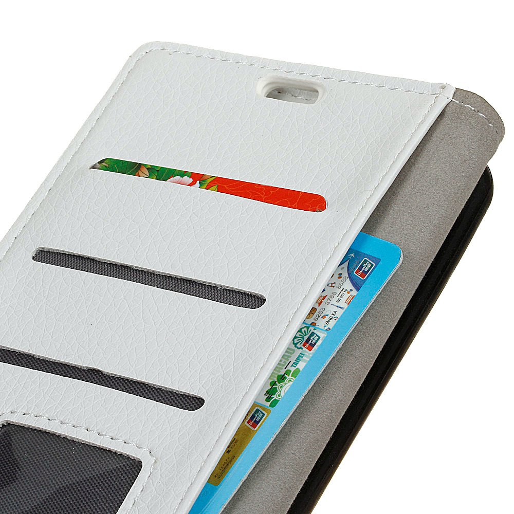 Litchi Pattern PU Leather Wallet Case for Xiaomi 6 Plus - WHITE