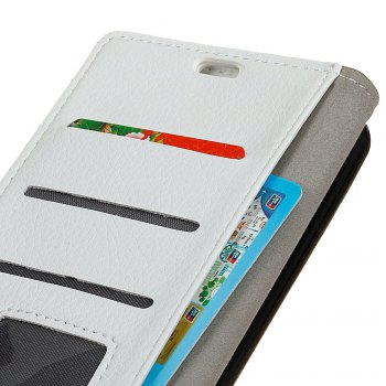 Litchi Pattern PU Leather Wallet Case for Xiaomi 6 - WHITE