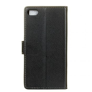 Litchi Pattern PU Leather Wallet Case for Xiaomi 6 -  BLACK