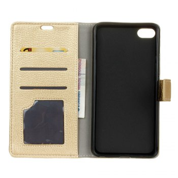 Litchi Pattern PU Leather Wallet Case for Xiaomi 6 -  GOLDEN