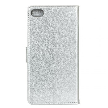Litchi Pattern PU Leather Wallet Case for Xiaomi 6 - SILVER
