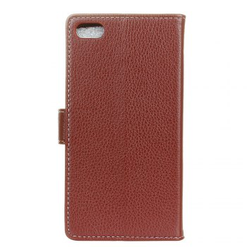 Litchi Pattern PU Leather Wallet Case for Xiaomi 6 - BROWN