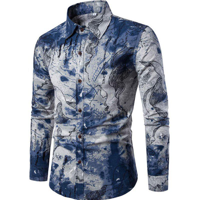 2018 2017 Autumn and Winter New Men Long Sleeves Printed Shirts ...
