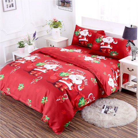 3D Cartoon Bedding Sets Merry Christmas Gift Santa Claus Bedclothes Duvet Quilt Cover Bed Sheet 2 Pillowcases - RED TWIN