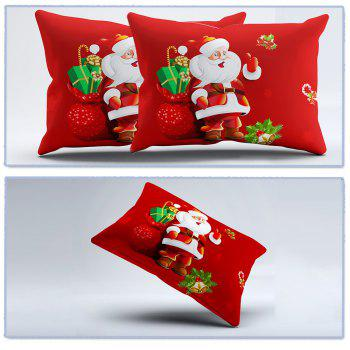 3D Cartoon Bedding Sets Merry Christmas Gift Santa Claus Bedclothes Duvet Quilt Cover Bed Sheet 2 Pillowcases - RED RED