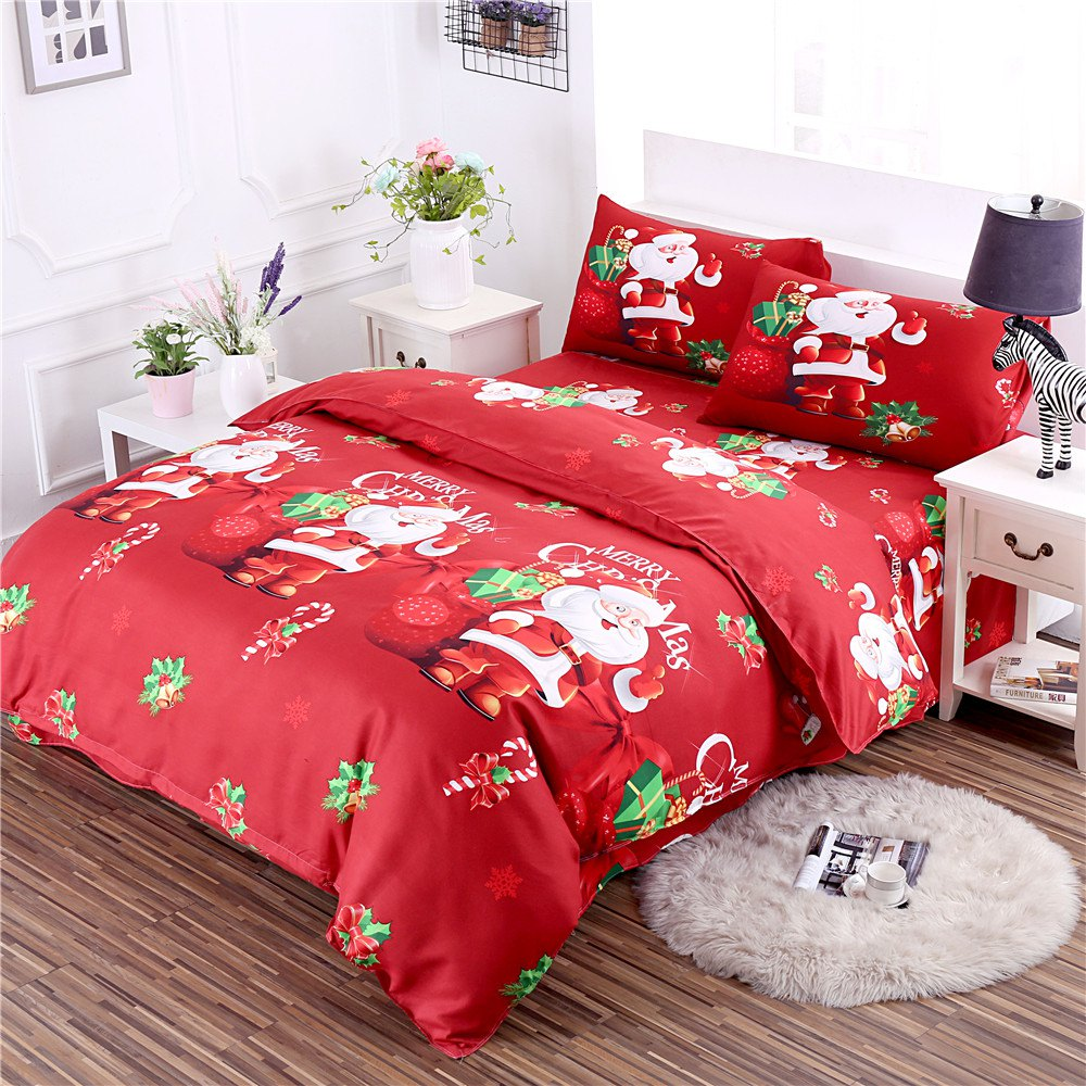 3D Cartoon Bedding Sets Merry Christmas Gift Santa Claus Bedclothes Duvet Quilt Cover Bed Sheet 2 Pillowcases - RED QUEEN