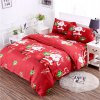 3D Cartoon Bedding Sets Merry Christmas Gift Santa Claus Bedclothes Duvet Quilt Cover Bed Sheet 2 Pillowcases - RED FULL