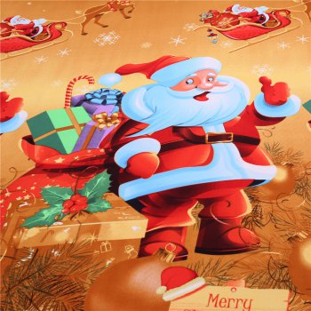 3D Merry Christmas Gift Santa Claus Deep Pocket Bedclothes Cover Bed Sheet Pillowcases - YELLOW YELLOW