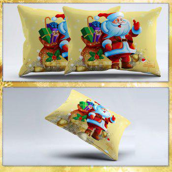 3D Merry Christmas Gift Santa Claus Deep Pocket Bedclothes Cover Bed Sheet Pillowcases - YELLOW QUEEN