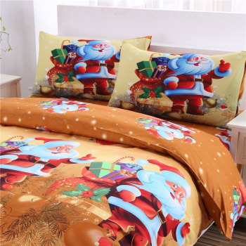 3D Merry Christmas Gift Santa Claus Deep Pocket Bedclothes Cover Bed Sheet Pillowcases - YELLOW KING