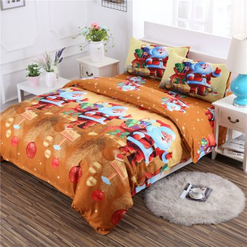 3D Merry Christmas Gift Santa Claus Deep Pocket Bedclothes Cover Bed Sheet Pillowcases