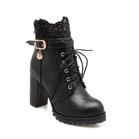 Back Zipper with Lace and Heel Boots - BLACK 43
