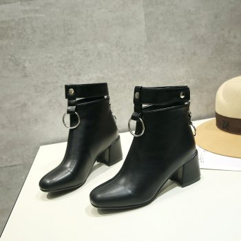 Square Thick with Metal Ring Boots Fashion Decoration - BLACK 36