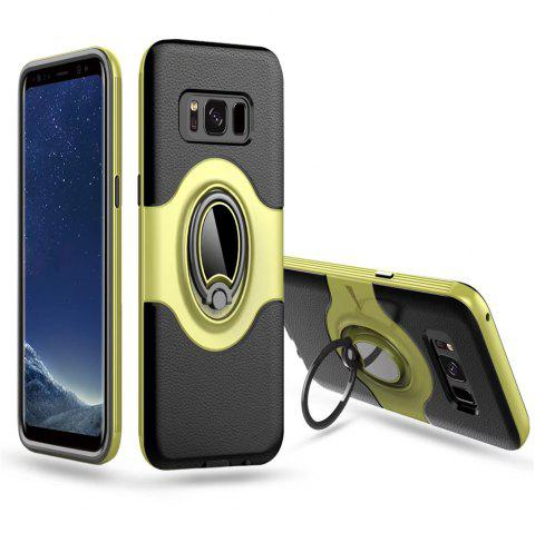 Hybrid Slim TPU Bumper Protective  with 360 Degree Rotating Metal Ring Holder Kickstand Case for Samsung Galaxy S8 Plus - GOLDEN