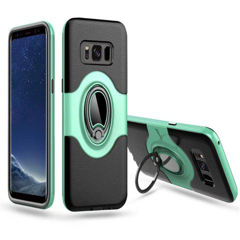 Hybrid Slim TPU Bumper Protective  with 360 Degree Rotating Metal Ring Holder Kickstand Case for Samsung Galaxy S8 Plus - GREEN