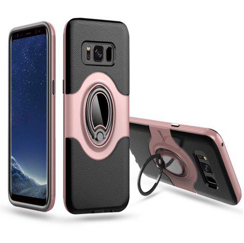 Hybrid Slim TPU Bumper Protective  with 360 Degree Rotating Metal Ring Holder Kickstand Case for Samsung Galaxy S8 Plus - ROSE GOLD