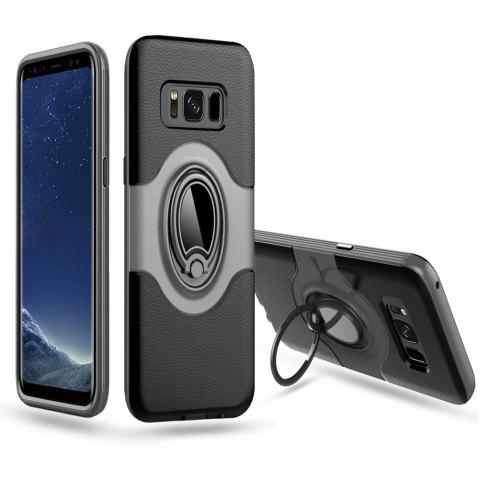 Hybrid Slim TPU Bumper Protective  with 360 Degree Rotating Metal Ring Holder Kickstand Case for Samsung Galaxy S8 Plus - SILVER