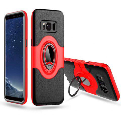 Hybrid Slim TPU Bumper Protective  with 360 Degree Rotating Metal Ring Holder Kickstand Case for Samsung Galaxy S8 Plus - RED