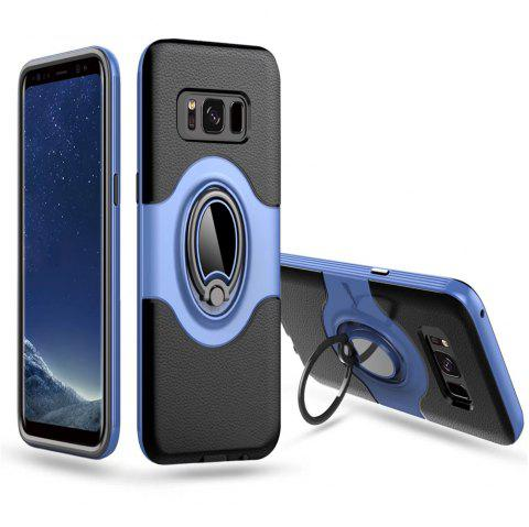 Hybrid Slim TPU Bumper Protective  with 360 Degree Rotating Metal Ring Holder Kickstand Case for Samsung Galaxy S8 Plus - BLUE