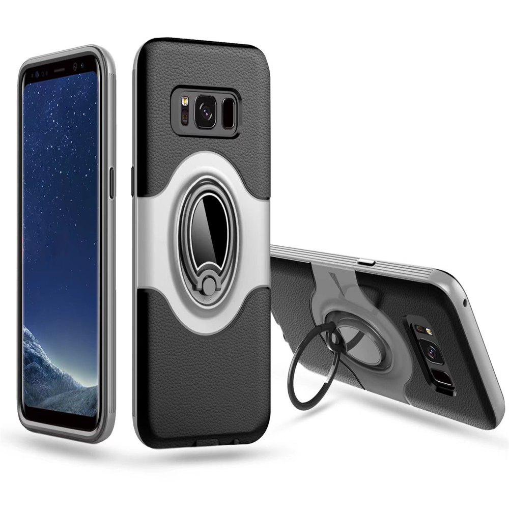 Hybrid Slim TPU Bumper Protective  with 360 Degree Rotating Metal Ring Holder Kickstand Case for Samsung Galaxy S8 Plus - WHITE