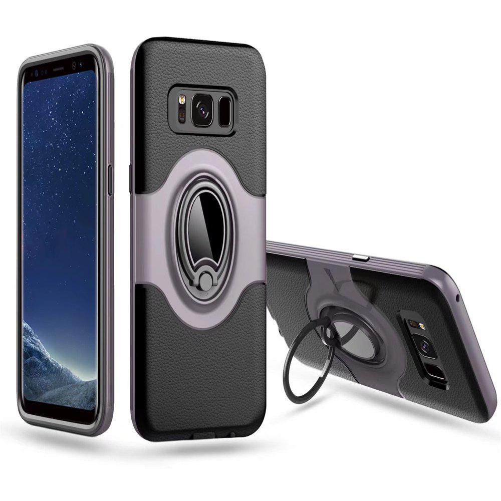 Hybrid Slim TPU Bumper Protective  with 360 Degree Rotating Metal Ring Holder Kickstand Case for Samsung Galaxy S8 Plus - GRAY
