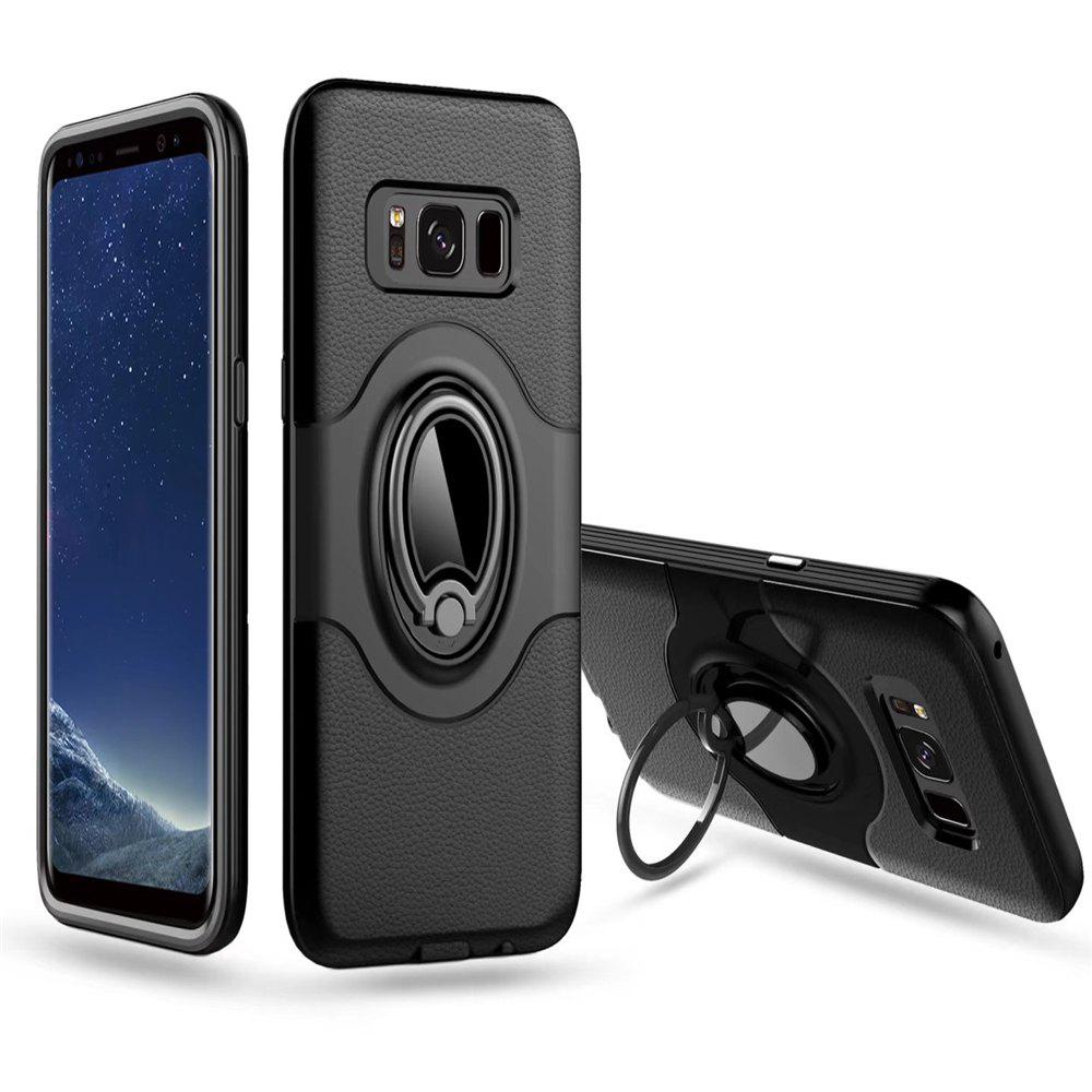 Hybrid Slim TPU Bumper Protective  with 360 Degree Rotating Metal Ring Holder Kickstand Case for Samsung Galaxy S8 Plus - BLACK