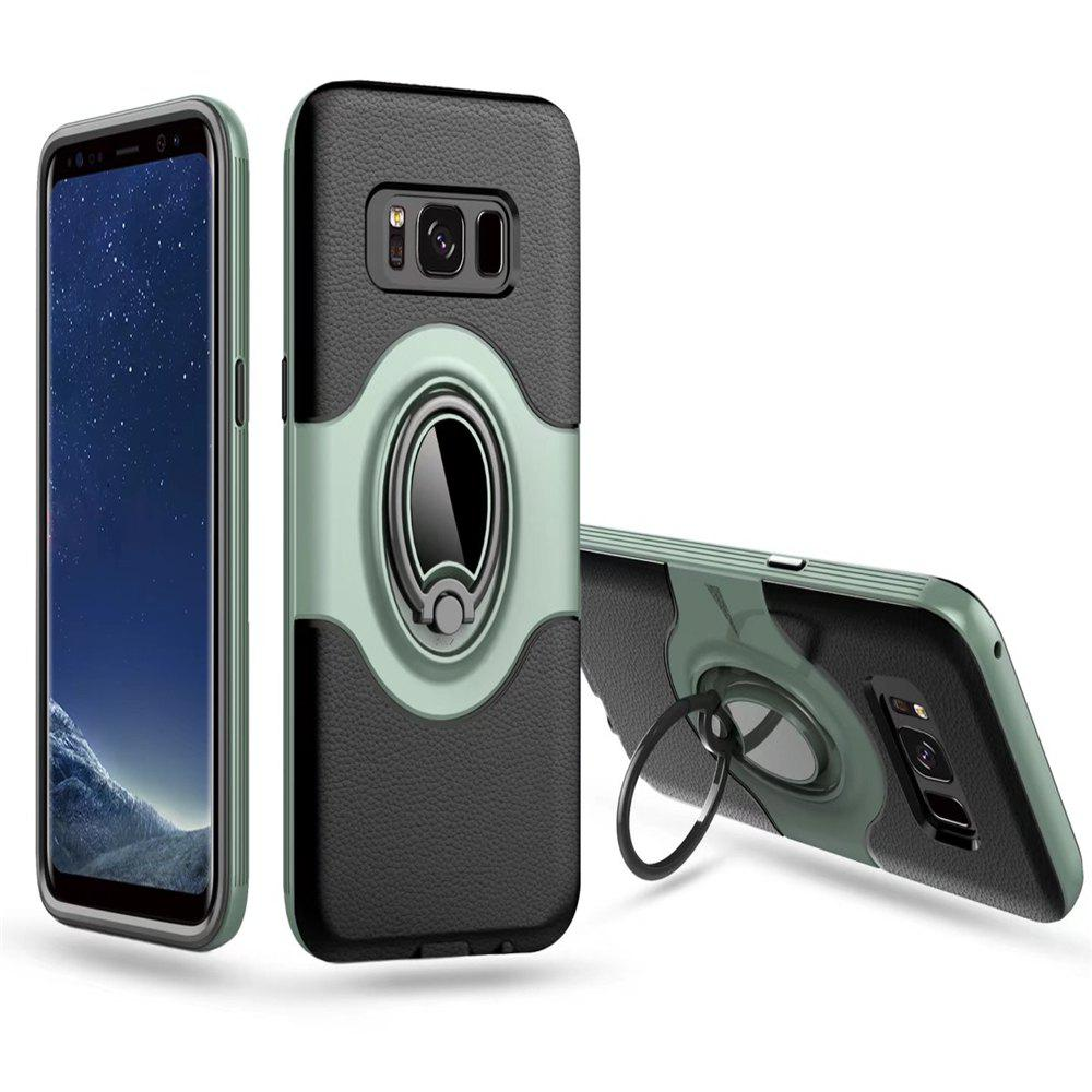 Hybrid Slim TPU Bumper Protective  with 360 Degree Rotating Metal Ring Holder Kickstand Case for Samsung Galaxy S8 Plus - CADETBLUE