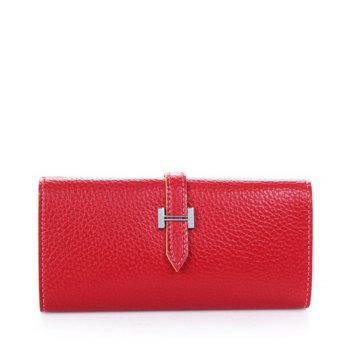Lichee Print 2 Fold Long Style Female Purse - RED RED