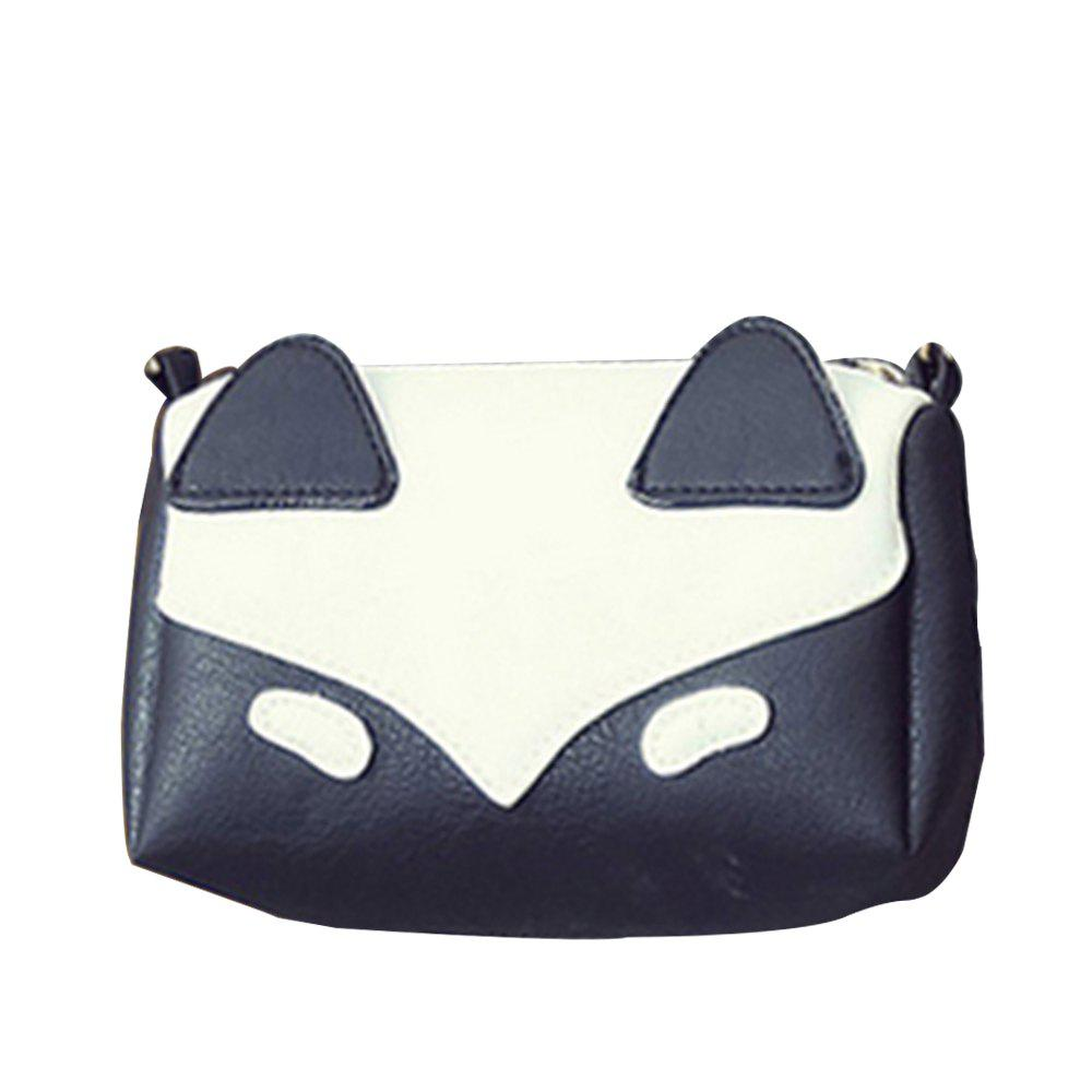 Women's Crossbody Sweet Patchwork Colorblock Zipper Mini Bag - BLACK