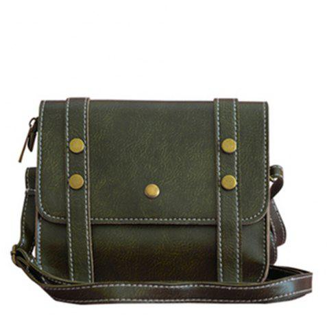 Women's Crossbody Vintage Faux Leather Studded Bag - DARK GREEN