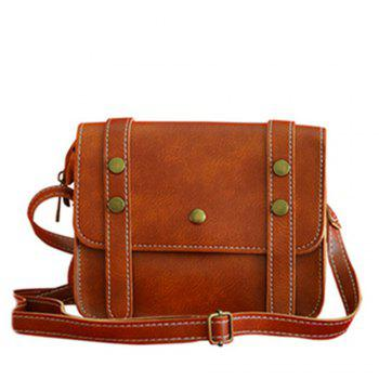 Women's Crossbody Vintage Faux Leather Studded Bag - BROWN BROWN