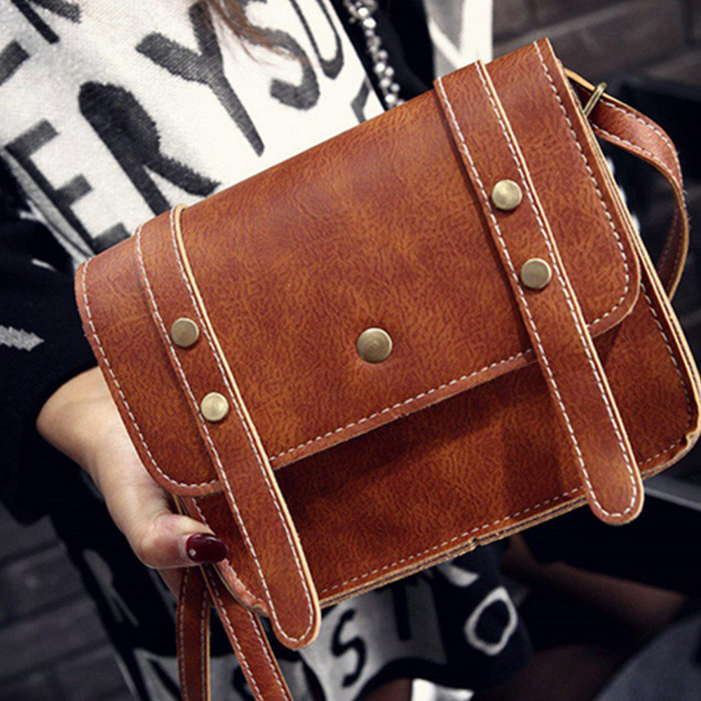 Women's Crossbody Vintage Faux Leather Studded Bag - BROWN